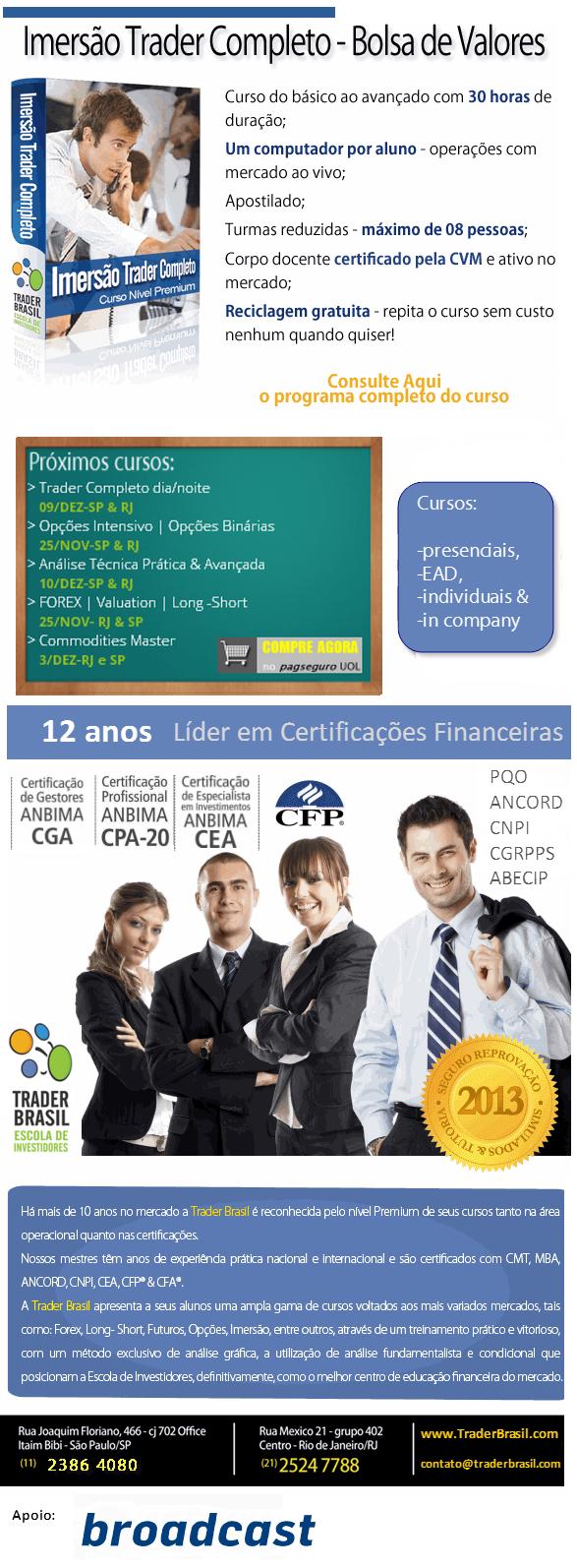 Curso de Trader e Calendário de cursos financeiros e de certificação anbima